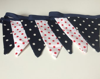 Navy, Red and White Polka Dot Bunting