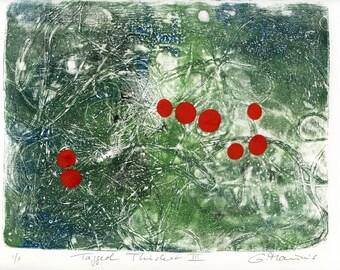 ORIGINAL work  / Tagged Thicket III //  green red ooak gelatin print composition handpulled print