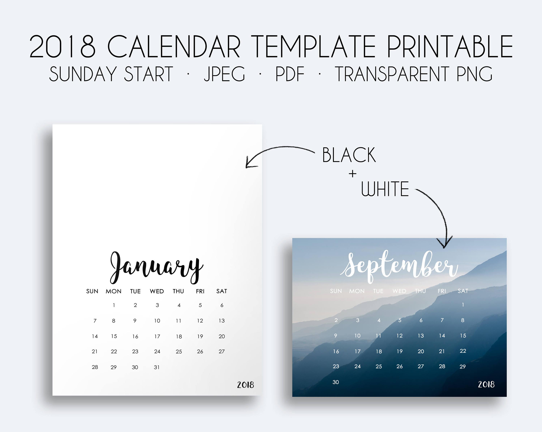 2018 Kalendervorlage Printable 2018 monatlichen