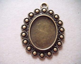 x 1 medium oval flower cameo pendant bronze 5.4 x 4.1 cm