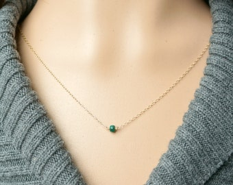 Emerald and Gold Necklace / Deep Green Natural Emerald on a Gold Filled Chain, Tiny Petite Everyday Jewelry, May Birthstone