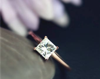Princess Cut 1ctw CC moissanite Engagement Ring Brilliant Moissanite Wedding Ring Solid 14K Rose Gold Ring Bridal Ring Anniversary Ring