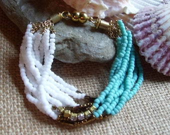 Summer beaded bracelet,seed beads in turquoise,white,brass center beads/magnetic closure