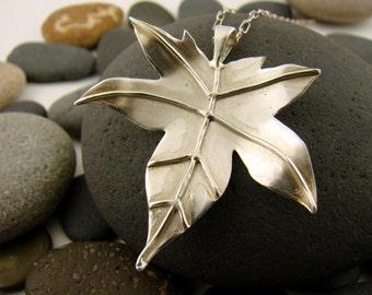 Sterling Silver Japanese Maple Leaf Pendant