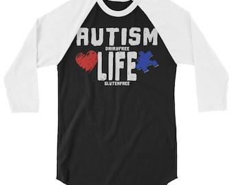 Autism Life Awareness Dairy Free Gluten Free 3/4 sleeve raglan shirt