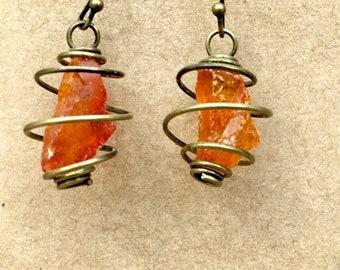 Amber Gemstone Cage Earrings