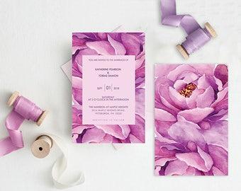 Watercolor Wedding Invitations / Purple Peony Watercolor Wedding Invitation