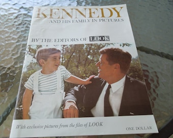 Kennedy And His Family In Pictures.  J. F. Kennedy Memorial Dated 1963 Look Magazine