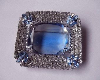 vintage blue pin with rhinestones