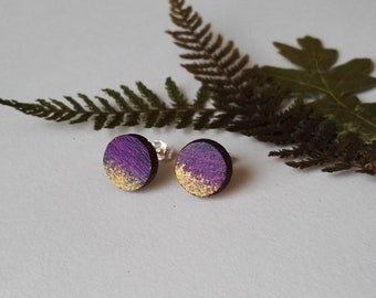 Wood Hand Painted Circle Stud Earrings in Purple and Gold (1cm diameter)