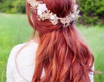 Wedding hair wreath dried flower crown silk blush peach preserved natural babys breath headwreath halo Accessories barn bridal party