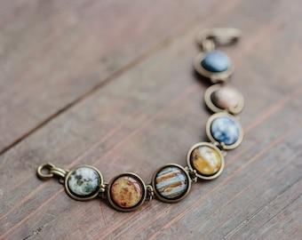 Solar system bracelet, Science jewelry, Space jewelry, Astronomy gift, Galaxy jewelry, Science gift, Planet bracelet, Solar system jewelry