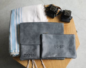 Jewish leather bags, Set of black Tallit and Tefillin Case, Hebrew letters, judaica from Israel, Bar Mitzva gift, phylacteries cover,