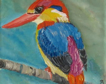 bird painting, kingfisher painting,  oil painting, mothers day,