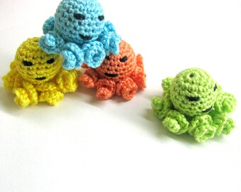 Crocheted beads  tiny  colorful octopus pendants set of 4