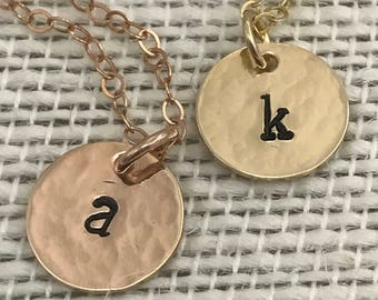 Tiny Hammered Initial Necklace in choice of Sterling Silver, 14k Gold Filled or 14k Rose Gold Filled