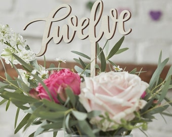Wooden Table Numbers 1 - 12 Boho style Wedding Centre Pieces