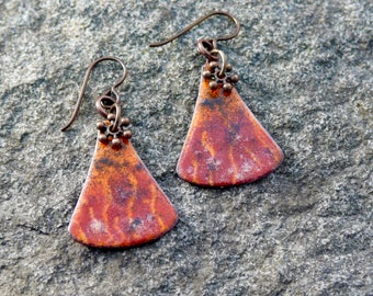 Torch fired enamel earrings, campfire