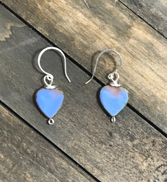 Silver filled czech glass heart earrings-purple/violet