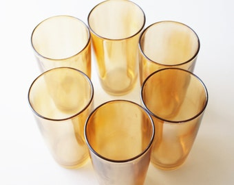 Vintage iridescent marigold carnival glass tumblers, set of 6, mid-century drinkware, cottage décor