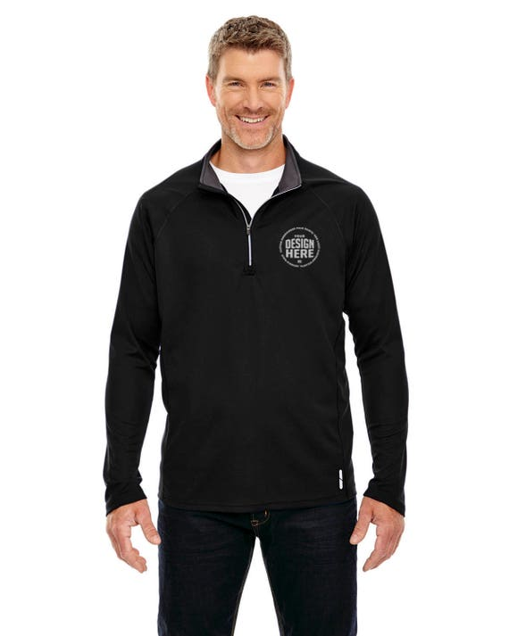 Custom Embroidered North End Men's Radar Quarter-Zip Performance Long-Sleeve Top, Personalize w/ your logo, Branding Black/Royal