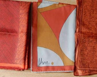 3 Vintage 60s Rust / Brown Autumn Tone Square & Long VERA Scarves Scarf