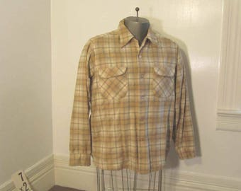 Vintage Pendleton 60s Board Shirt Earth Tones plaid Shirt Wool Camel & Gold plaid shirt Cream wool plaid Pendleton shirt M