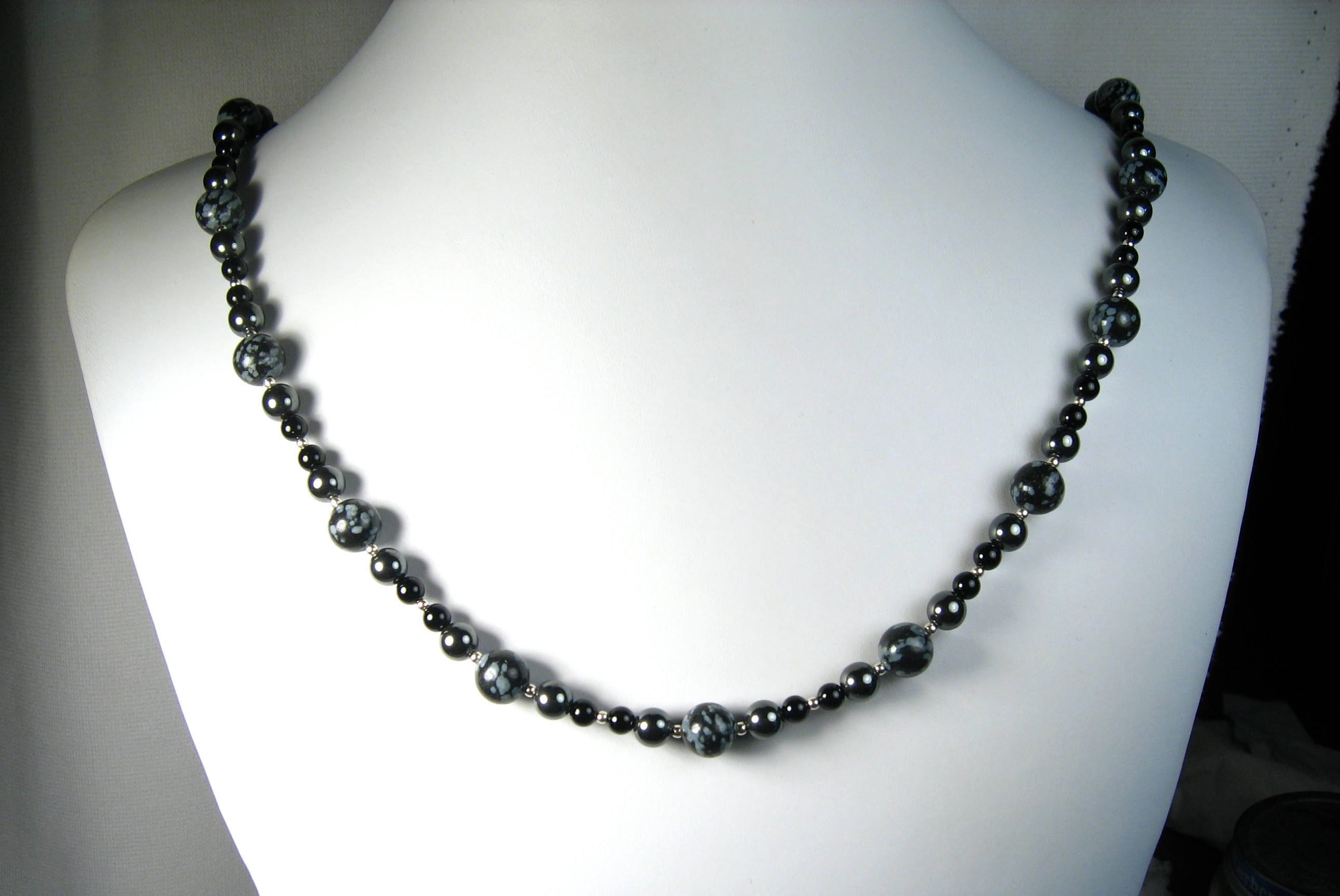 bead silver and product black necklace design onyx neclace hand knotted bloomingoak