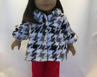 18 inch doll clothes; 4 piece outfit includes pants, shirt, fleece coat and beret hat