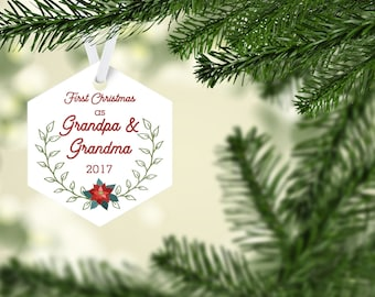First Christmas Grandparents Ornament, Personalized Christmas Ornament