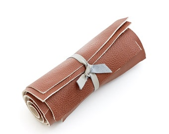Genuine Italian cowhide leather scrap, maple brown