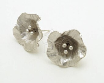 SI-950-MS / 2 Pcs - Morning Glory Flower Stud Earring Findings, Flower Ear Posts, Matte Silver Plated, with 925 Sterling Silver Post / 19mm