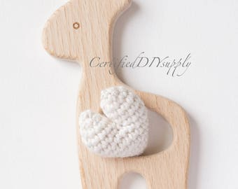 Natural Wooden Animal / Organic/ Wood/ Teething Giraffe/ Baby/ Safe/ Teething Wood/ DIY/ Teething Toy/ Eco/ Montessori/ Wooden Giraffe
