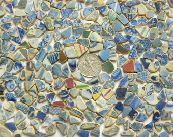 300 teeny weeny pottery shards in assorted colours
