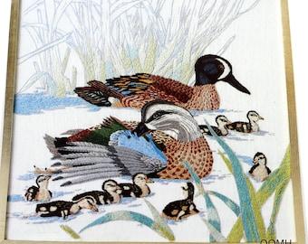 Blue Winged Teal Ducks Hallmark Cards Vtg Crewel Embroidery Kit Linen Wool 1977