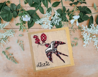 Personalised free-motion embroidery 30th birthday card