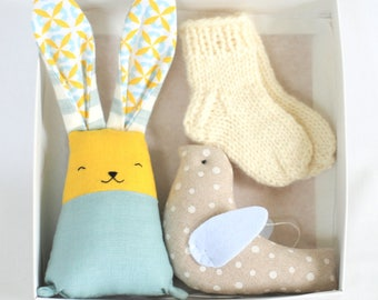 Gift set for new mom, wool socks, stuffed bunny, hanging bird, baby boy gift set, baby shower gift, rabbit toy, pregnancy announcement