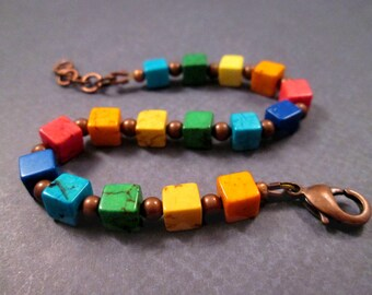 Rainbow Cube Bracelet, Dyed Turquoise Stones, Colorful and Copper Beaded Bracelet, FREE Shipping U.S.