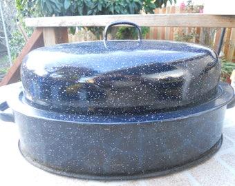 "Savory Jr Speckled Graniteware 12"" Roaster chicken Roaster"