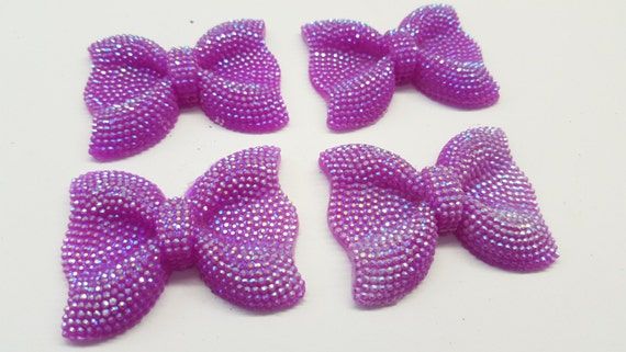 Violet Purple AB Large Flat Back Chunky Resin Rhinestone Embellishment Bows C12