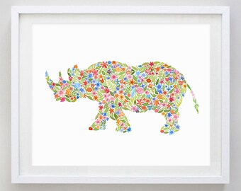 Sudan the Rhino Floral Watercolor Art Print