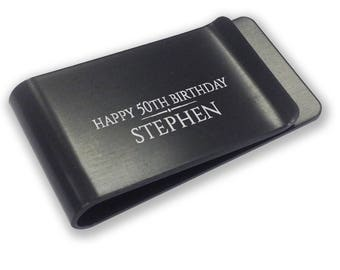 Personalised engraved 50th birthday MONEY CLIP gift - black money clip annodised aluminium  - LMB50BK