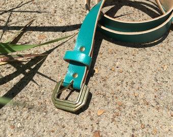 Size Medium Teal Skinny Waist Belt with Art Deco Brass Hardware