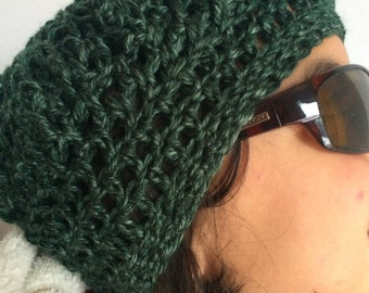 Boho Hippie Green Beanie Slouchy Beret Crochet Hat Celebrity style