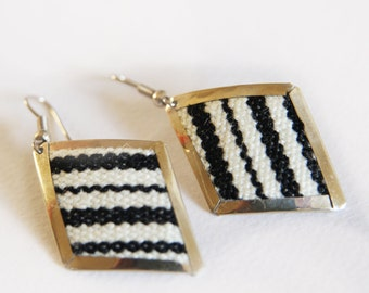 Original modern elegant alpaca earrings jewelry with textile stripes hand made crafted black and white  orange and black silver gift