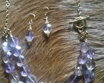 Amthyst Necklace with Matching Earrings