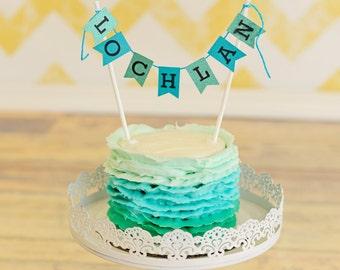Custom Cake banner with name, smash cake topper, cake topper