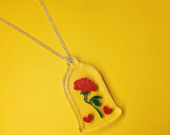 S A L E Beauty and The Beast Enchanted Rose Necklace