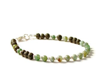 Lava Rock and African Jade Aromatherapy Essential Oil Diffusing Bracelet
