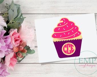 Cupcake Monogram Decal, Cupcake Car Decal, Personalized Monogram Vinyl Decal, Baking Decal, Baking Monogram, Cupcake Decal, Cupcake laptop